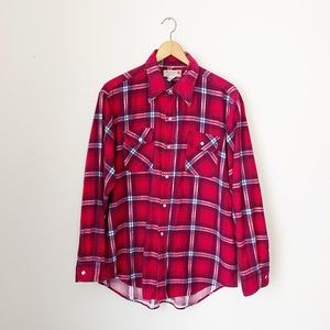 Vintage Red Plaid Flannel Long Sleeve Button Down